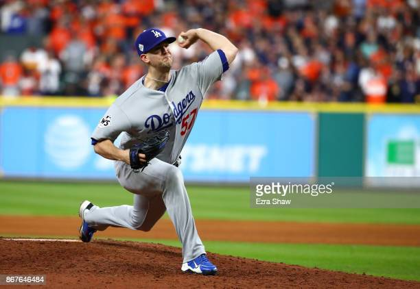 Alex Wood of the Los Angeles Dodgers pitches against the Houston Astros in game four of the 2017 World Series at Minute Maid Park on October 28 2017...
