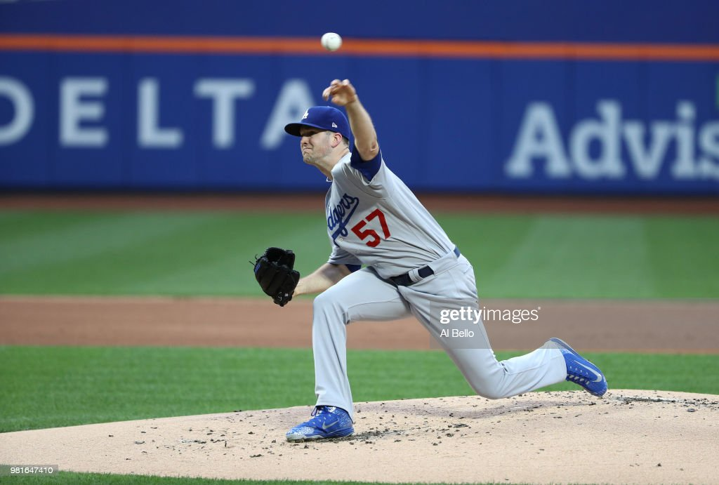 Alex Wood (57) of the Los Angeles Dodgers pitches against the New York Mets during their game at Citi Field on June 22, 2018 in New York City.