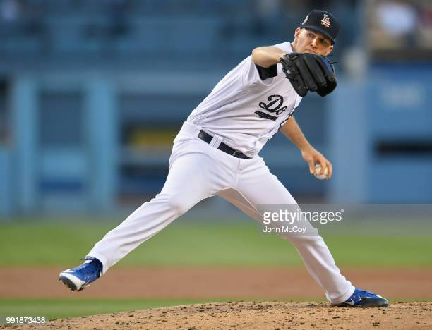 Alex Wood of the Los Angeles Dodgers pitches against the Pittsburgh Pirates in the second inning at Dodger Stadium on July 2 2018 in Los Angeles...
