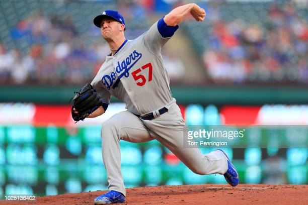 Alex Wood of the Los Angeles Dodgers pitches against the Texas Rangers in the bottom of the first inning at Globe Life Park in Arlington on August 29...