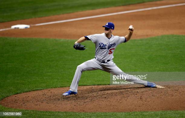 Alex Wood of the Los Angeles Dodgers pitches during Game 6 of the NLCS against the Milwaukee Brewers at Miller Park on Friday October 2018 in...