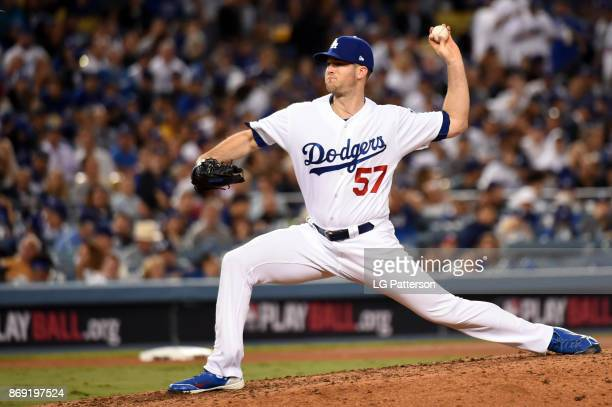 Alex Wood of the Los Angeles Dodgers pitches during Game 7 of the 2017 World Series against the Houston Astros at Dodger Stadium on Wednesday...