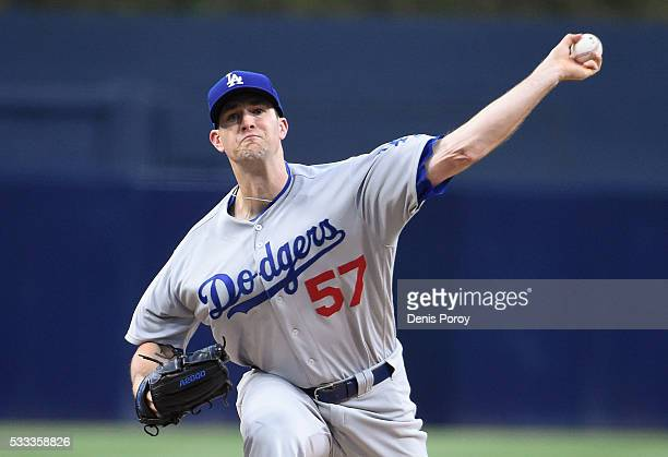 Alex Wood of the Los Angeles Dodgers pitches during the first inning of a baseball game against the San Diego Padres at PETCO Park on May 21 2016 in...