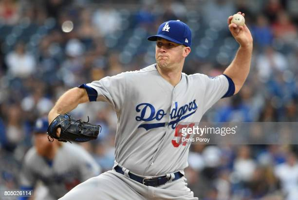 Alex Wood of the Los Angeles Dodgers pitches during the first inning of a baseball game against the San Diego Padres at PETCO Park on June 30 2017 in...