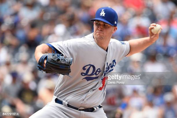 Alex Wood of the Los Angeles Dodgers pitches during the first inning of a baseball game against the San Diego Padres at PETCO Park on September 3...