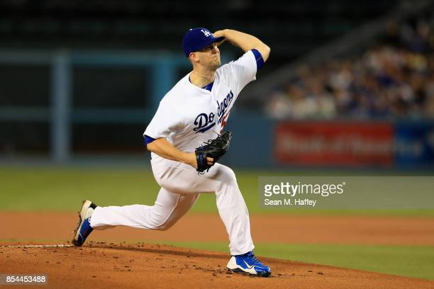 Alex Wood of the Los Angeles Dodgers pitches during the first inning of a game against the San Diego Padres at Dodger Stadium on September 26 2017 in...