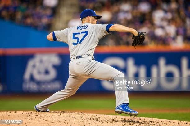 Alex Wood of the Los Angeles Dodgers pitches during the game against the New York Mets at Citi Field on Friday June 22 2018 in the Queens borough of...