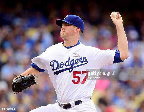 Alex Wood of the Los Angeles Dodgers pitches during the second inning against the St Louis Cardinals at Dodger Stadium on May 15 2016 in Los Angeles...