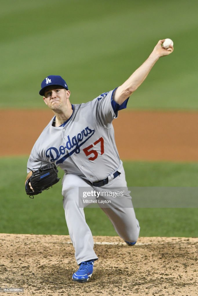 Alex Wood #57 of the Los Angeles Dodgers pitches in the fifth inning during a baseball game against the Washington Nationals at Nationals Park on September 15, 2017 in Washington, DC.