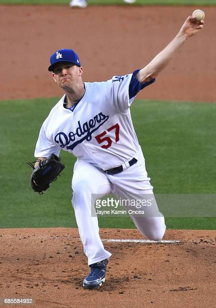 Alex Wood of the Los Angeles Dodgers pitches in the first inning of the game against the Miami Marlins at Dodger Stadium on May 19 2017 in Los...