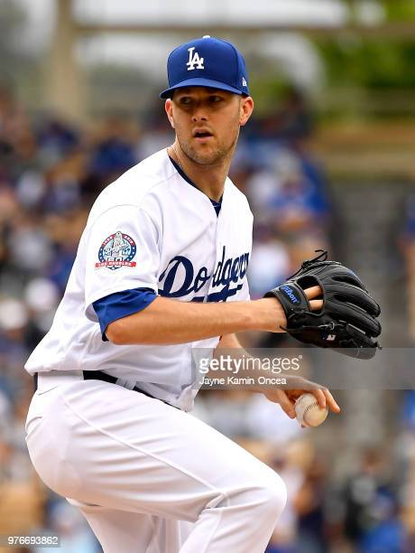 Alex Wood of the Los Angeles Dodgers pitches in the first inning of the game against the San Francisco Giants at Dodger Stadium on June 16 2018 in...