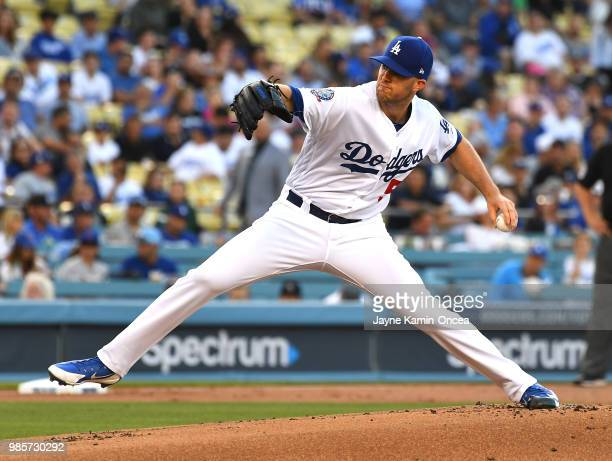Alex Wood of the Los Angeles Dodgers pitches in the first inning of the game against the Chicago Cubs at Dodger Stadium on June 27 2018 in Los...