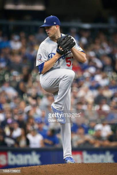 Alex Wood of the Los Angeles Dodgers pitches in the first inning against the Milwaukee Brewers at Miller Park on July 22 2018 in Milwaukee Wisconsin