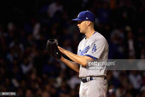 Alex Wood of the Los Angeles Dodgers pitches in the first inning against the Chicago Cubs during game four of the National League Championship Series...