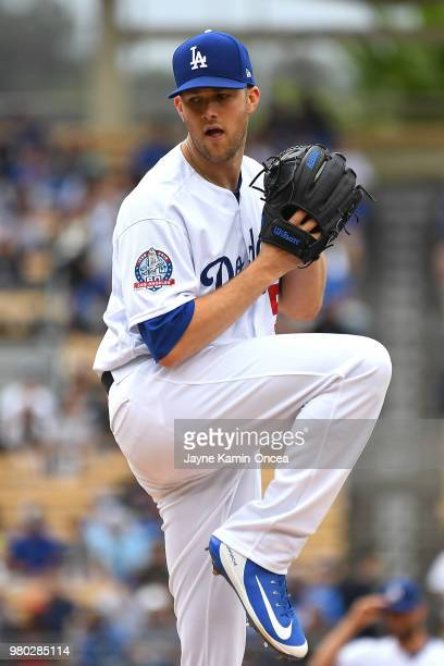 Alex Wood of the Los Angeles Dodgers pitches in the game against the San Francisco Giants at Dodger Stadium on June 16 2018 in Los Angeles California