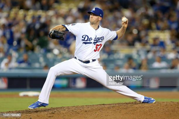 Alex Wood of the Los Angeles Dodgers pitches in the ninth inning during Game 1 of the NLDS against the Atlanta Braves at Dodger Stadium on Thursday...
