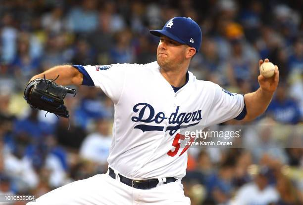 Alex Wood of the Los Angeles Dodgers pitches in the second inning of the game against the Houston Astros at Dodger Stadium on August 3 2018 in Los...