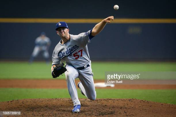 Alex Wood of the Los Angeles Dodgers pitches in the second inning against the Milwaukee Brewers at Miller Park on July 22 2018 in Milwaukee Wisconsin