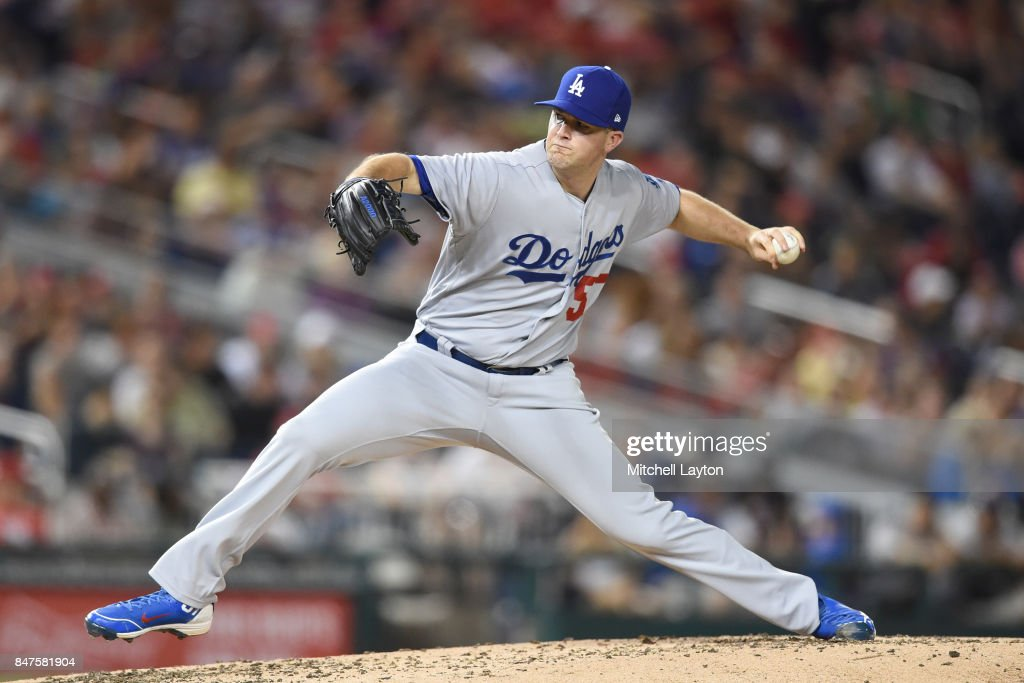 Alex Wood #57 of the Los Angeles Dodgers pitches in the third inning during a baseball game against the Washington Nationals at Nationals Park on September 15, 2017 in Washington, DC.