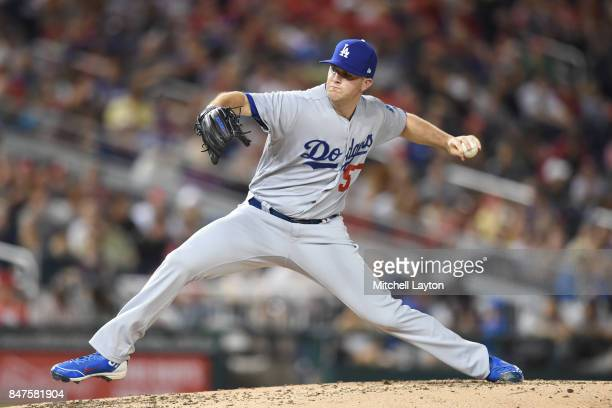 Alex Wood of the Los Angeles Dodgers pitches in the third inning during a baseball game against the Washington Nationals at Nationals Park on...