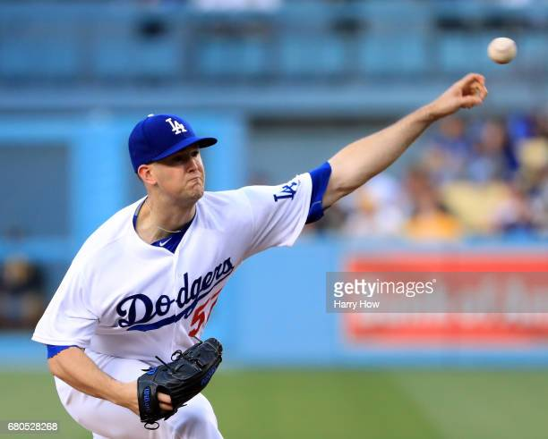 Alex Wood of the Los Angeles Dodgers pitches to the Pittsburgh Pirates during the first inning at Dodger Stadium on May 8 2017 in Los Angeles...