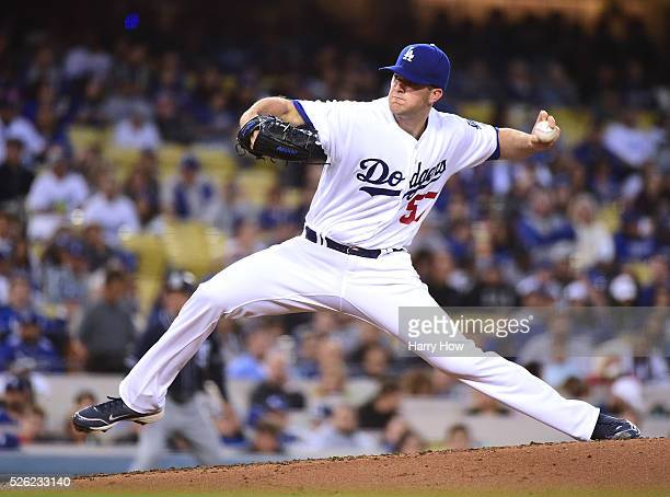 Alex Wood of the Los Angeles Dodgers pitches to the San Diego Padres during the second inning at Dodger Stadium on April 29 2016 in Los Angeles...
