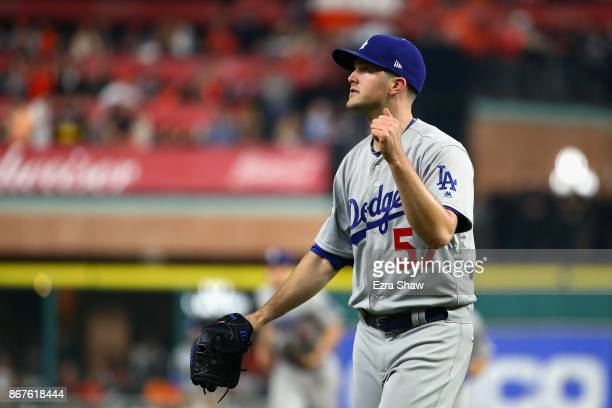 Alex Wood of the Los Angeles Dodgers reacts during the second inning against the Houston Astros in game four of the 2017 World Series at Minute Maid...