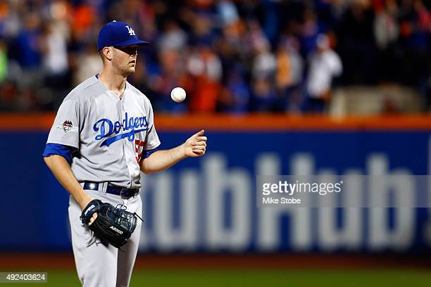 Alex Wood of the Los Angeles Dodgers reacts in the fourth inning against the New York Mets during game three of the National League Division Series...