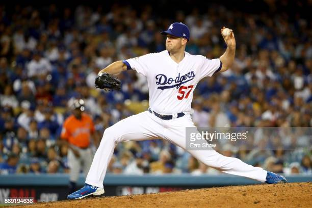 Alex Wood of the Los Angeles Dodgers throws a pitch during the eighth inning against the Houston Astros in game seven of the 2017 World Series at...