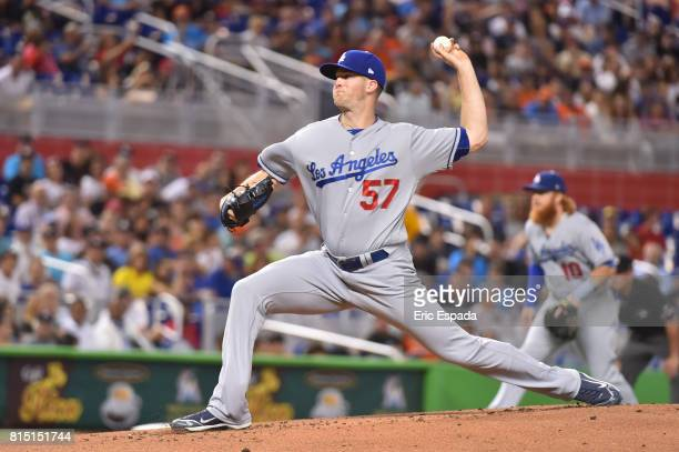Alex Wood of the Los Angeles Dodgers throws a pitch during the first inning against the Miami Marlins at Marlins Park on July 15 2017 in Miami Florida