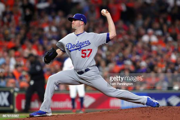 Alex Wood of the Los Angeles Dodgers throws a pitch during the first inning against the Houston Astros in game four of the 2017 World Series at...