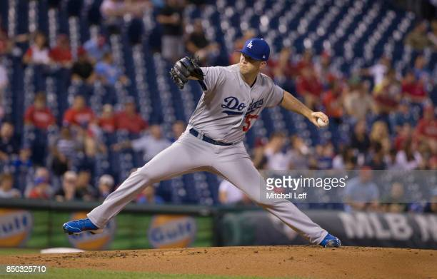 Alex Wood of the Los Angeles Dodgers throws a pitch in the bottom of the first inning against the Philadelphia Phillies at Citizens Bank Park on...