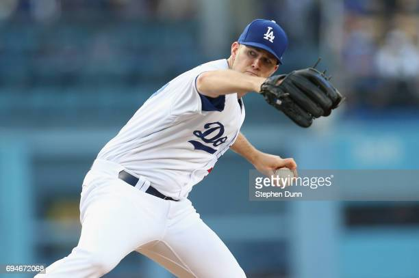Alex Wood of the Los Angeles Dodgers throws a pitch in the second inning against the Cincinnati Reds at Dodger Stadium on June 10 2017 in Los Angeles...