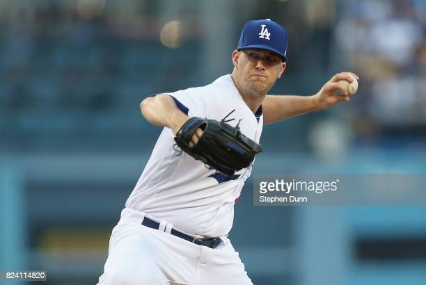 Alex Wood of the Los Angeles Dodgers throws a pitch in the second inning against the San Francisco Giants at Dodger Stadium on July 28 2017 in Los...