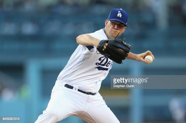 Alex Wood of the Los Angeles Dodgers throws a pitch in the second inning against the Colorado Rockies at Dodger Stadium on September 9 2017 in Los...