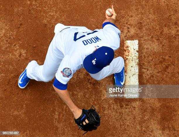 Alex Wood of the Los Angeles Dodgers warms up in the bullpen for the game against the San Francisco Giants at Dodger Stadium on June 16 2018 in Los...