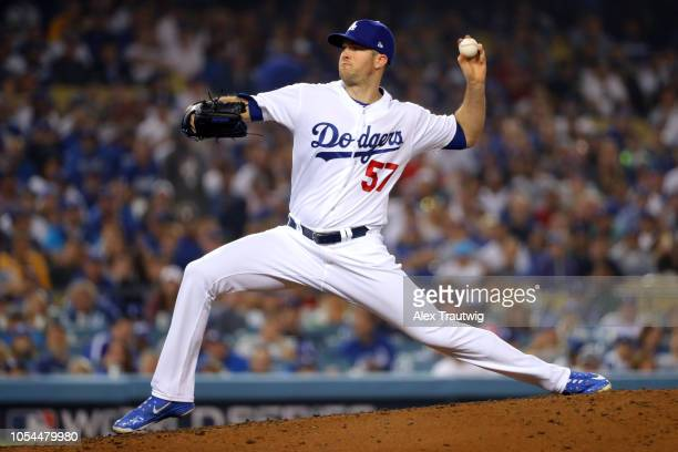 Alex Wood pitches in the ninth inning during Game 4 of the 2018 World Series against the Boston Red Sox at Dodger Stadium on Saturday October 27 2018...