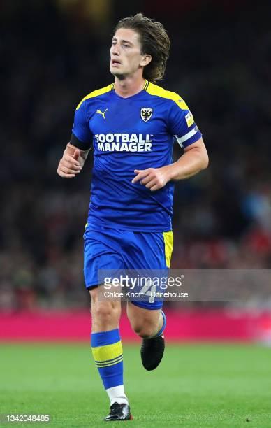 Alex Woodyard of AFC Wimbledon during the Carabao Cup Third Round match between Arsenal and AFC Wimbledon at Emirates Stadium on September 22, 2021...