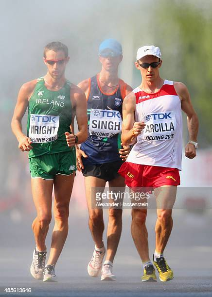 Alex Wright of Ireland and Francisco Arcilla of Spain compete in the Men's 50km Race Walk during day eight of the 15th IAAF World Athletics...