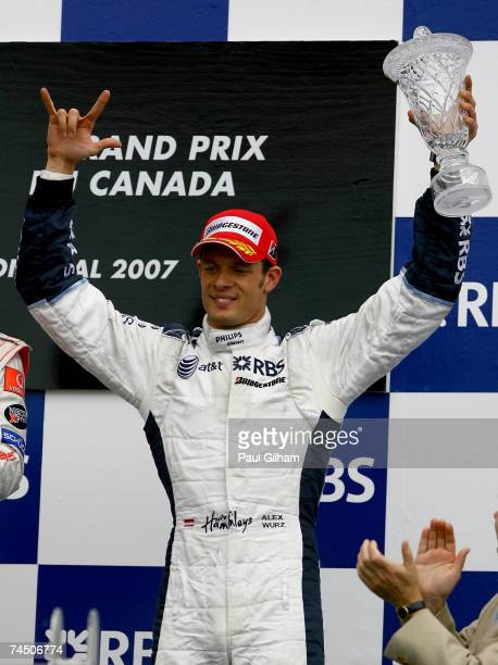Alex Wurz of Austria and Williams celebrates placing third in the Canadian Formula One Grand Prix at the Circuit Gilles Villeneuve on June 10, 2007...