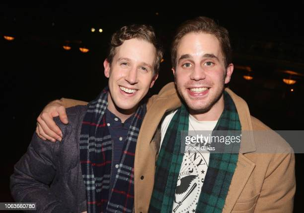 Alex Wyse and Ben Platt pose backstage at the hit musical 'Waitress' on Broadway at The Brooks Atkinson Theater on November 19 2018 in New York City