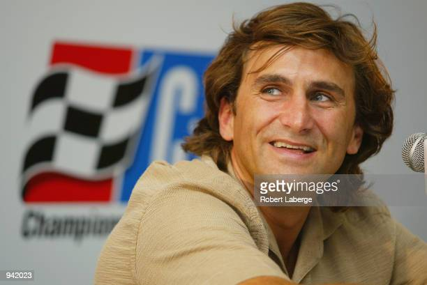 Alex Zanardi during a press conference on the day of his return to a track after his life threatening accident in September 2001 in Germany at the...