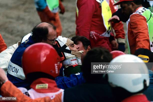 Alex Zanardi Grand Prix of Belgium Circuit de SpaFrancorchamps 29 August 1993 Alex Zanardi being transported after a massive high speed crash during...