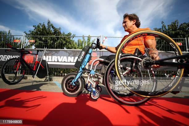 Alex Zanardi of Italy arrives for IRONMAN Italy on September 20 2019 in Cervia Italy