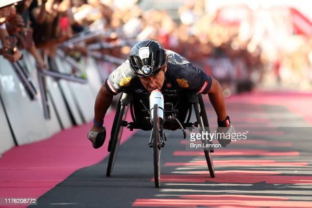 Alex Zanardi of Italy crosses the finish line in IRONMAN Italy on September 21 2019 in Cervia Italy