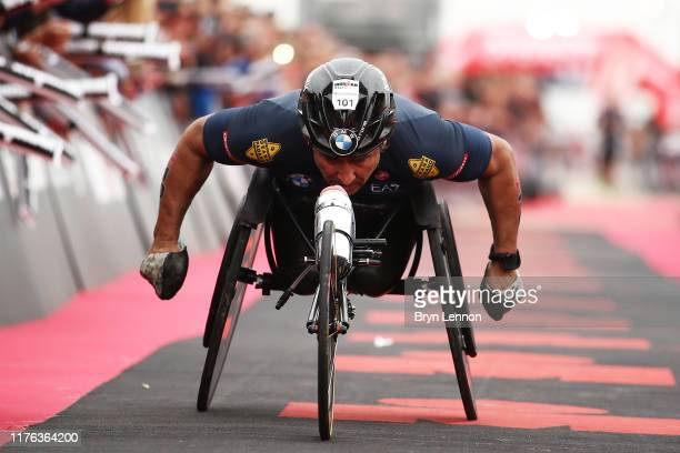 Alex Zanardi of Italy heads for the finish line on IRONMAN 703 Emilia Romagna on September 22 2019 in Cervia Italy