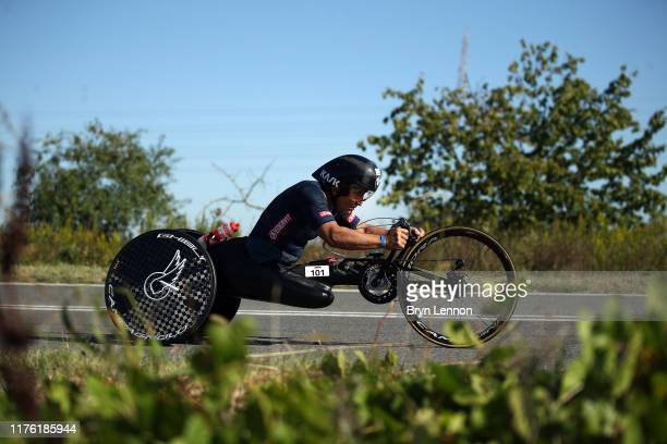 Alex Zanardi of Italy takes part in the bike leg of IRONMAN Italy on September 21 2019 in Cervia Italy