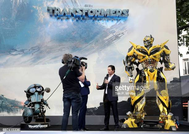 Alex Zane and Mark Wahlberg on stage at the global premiere of 'Transformers The Last Knight' at Cineworld Leicester Square on June 18 2017 in London...