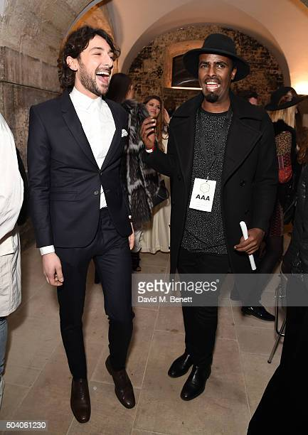 Alex Zane and Mason Smiley pose backstage following the Joshua Kane Bespoke with Lab Series runway show during London Collections Men AW16 at Christ...