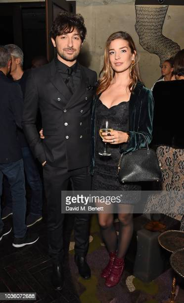 Alex Zane and Nettie Wakefield attend the Joshua Kane collection preview and party at The Mandrake Hotel on September 19 2018 in London England